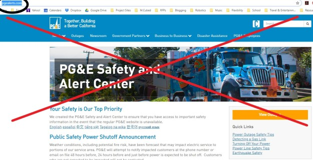 PG&E PSPS website clip