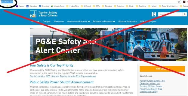 PG&E PSPS website clip